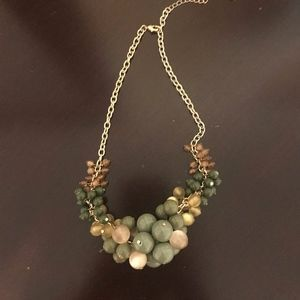 Green and Tan Beaded Necklace.